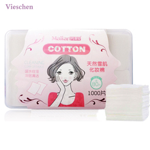 Vieschen 1000pcs Cosmetic Make up Facial Cotton Pads Necessaire Puff Organic Cotton Swab Box Eye Cleansing Pads(China)