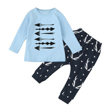 MUQGEW 2pcs Toddler Infant Baby Boys Arrow Print Clothes Set Tops+Pants Outfits Clothes Long Sleeve Infant Product 2017 Hot(China)