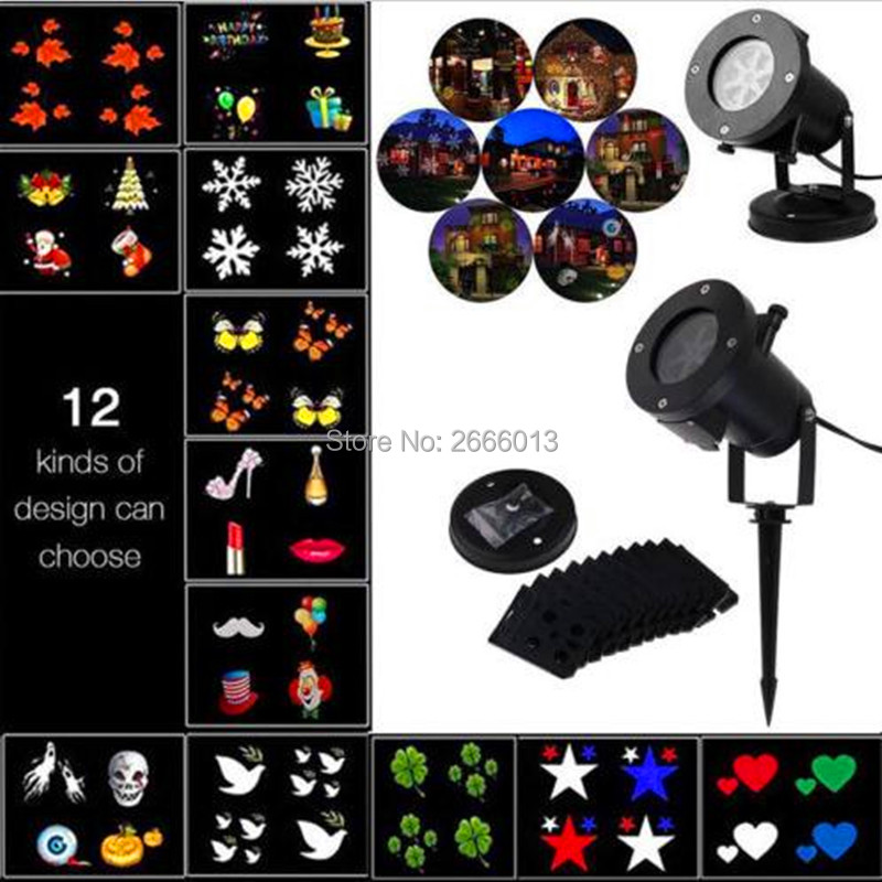 Christmas Party LED Projector Light 12pcs Switchable Slides/Patterns Decorative Light for Halloween LED Waterproof outdoor laser<br>