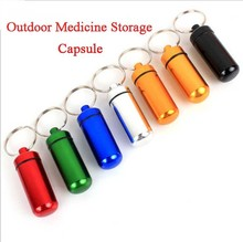 1Pcs 4.8*1.7cm Outdoor Furniture,Pill Waterproof Storage Capsule Keychain,Made of aluminum.(China)
