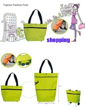 Fashion Protable Folding Cart Shopping Bag Easy to Carry Tote With Wheels Packet
