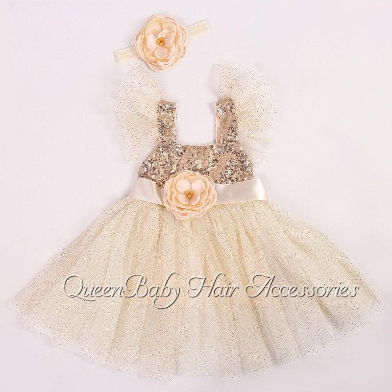 5set/lot  Ivory&amp;Gold Girl Dress Matching Flower Girl Sash  Baby Headband  Princess Dress<br><br>Aliexpress