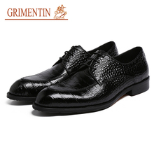 GRIMENTIN Fashion Men Dress Shoes Genuine Leather Black Brown Male Shoes 2018 Luxury Men Business Shoes Size:6-10.5 sh195(China)