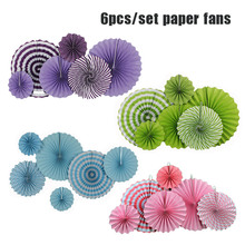 "Hot Sale 6pcs/Set 8"" 12"" 16"" Mixed Size Purple/Green/Light Blue/Pink Set Hanging Paper Fan For Birthday Wedding Party Decoration(China)"