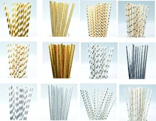 25 Pcs Eco-friendly Silver Gold Foil Paper Straws for Wedding Party Decorations Birthday Holiday Supplies Drinking Straws