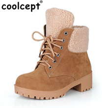Coolcept Size 34-43 Cold Winter Warm Snow Boots Women Thick Heel Platform Fur Booties Women Cross Tied Half Short Gladiator Boat(China)