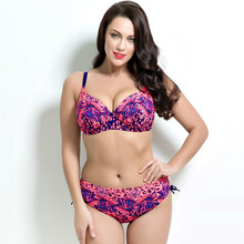 2017 plus size bikini set Bathing Suit Push up bikinis women Large Cup Bikini set Women Swimwear Sexy plus size Swimsuit