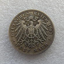 1901 Germany 5 Mark States Baden - Friedrich I Copy Coins Free Shipping metal craft dies manufacturing factory(China)