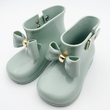 14.5-19.5cm Bow girls rain Boots for baby toddler little girls boots Waterproof Child Rubber Boots Jelly water shoes