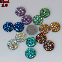 Micui 100PCS 16mm Sew on 2 Hole AB Color Resin Round flatback Stone Resin Rhinestone Crystal Stone For Wedding Decoration ZZ336