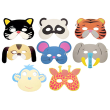 10 Pcs Kids Upper Half Face Masks Christmas Halloween Birthday Party Assorted EVA Foam Cartoon Animal Masks Festive Supplies(China)