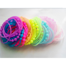 10pcs Fluorescence Silicone Rubber Band Bracelet Fashion High Elastic Hair Rope Ties headband Girl Hair Accessory