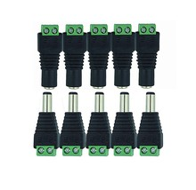 Hot 100 Pcs CCTV Cameras 2.1mm x 5.5mm DC Connector CCTV UTP Cable Power Plug Adapter Cable DC/AC 2/Camera Video Balun Connector