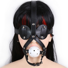 Buy 5cm ABS ball open mouth gag PU leather head harness bondage restraint eye mask adult fetish sex SM game toy women men couple