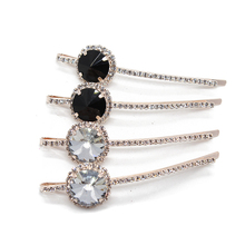 1 Pair Korean Fashion Hair Accessories Hairpins Diamante Hairclips Luxury Round Crystal Rhinestone Hair Clip Barrette For Women