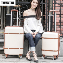 "TRAVEL TALE 22"" inch ABS vintage trolley luggage bag retro travel suitcase 24 baggage(China)"