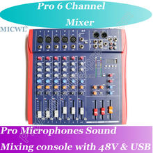 Professional 6 Channel Mt60s-usb Mixer karaoke Mixing Console with Effects MP3 USB 48V LCD
