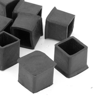NHBR  10 Pcs Rubber 25mm x 25mm Furniture Chair Legs Covers Protectors