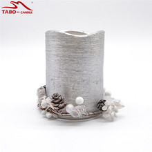 Decorative Christmas Led Candle and Christmas Candle Ring In Silver Color for Holiday Home Especially Xmas Decoration