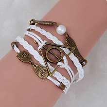 Buy Neutral Vintage Harry Potter Deathly Hallows Wings Bangle Multi Layer Braided Leather Bracelet Women Men for $1.40 in AliExpress store
