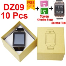 DHL 10pcs/lot DZ09 smartwatch for Apple android phone smart watch with camera Anti-lost support SIM/TF card MP3 pk GT08 A1 U8