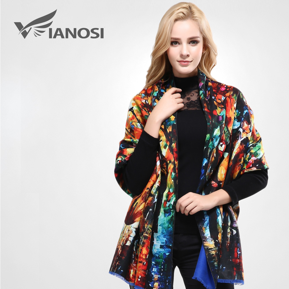 [VIANOSI] Women Scarf Wool Shawl Fashion Thicken Warm Wrap Printing Scarves and Stoles Soft Textured Winter Scarf VA057(China)