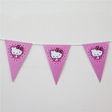 Baby Shower Birthday Party Flags Pink Hello Kitty Theme Paper Banners Bunting Birthday Party Supplies For Girls