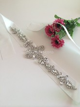 2015 Rhinestone decorations Sliver Beaded Crystal lace Applique for wedding dresses lace trim for Fashion diamond embroidery(China)