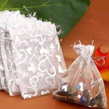 free shipping 25PCs Silver Organza Wedding Favor Gift Bag Pouch Packaging Jewelry Candy Bags