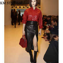 Autumn and Winter 2017 Women Red PU Leather Jacket Shirt + Black Split Skirt Sets 2 Piece Suits(China)