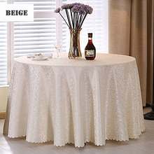1PC Multi Size White Polyester Hotel Dinner Table Cloth Round Washable Gold Crocheted Floral Tablecloth For Wedding Party Decor