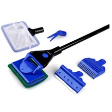 DogLemi  5 In1Plastic Aquarium Fish Tank Clean Set Fish Net  Algae Scraper Sponge Brush Aquarium Cleaner Kits