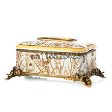 European classical tissue box creative ceramics inlaid bronze ornaments Luxurious napkin box