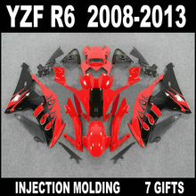 Custom injection motorcycle parts for YAMAHA R6 08 09 10 11 12 13 fairings YZF R6 2008 2009 - 2013 red black fairing kits RFG63