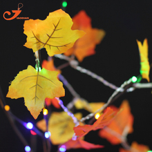 Colth Maple Leaves Fairy Light Mixed Color Orange Yellow Leaf Autumn String Lights 10LED Fall Indoor Decoration Battery Operated