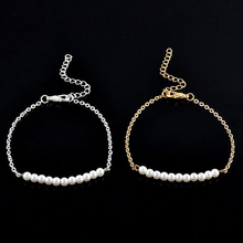 Trendy Charm Gold/Silver Imitation Pearl Chain Bracelet Jewelry Wedding Simulated Pearl Beads Bangle Female Women Elegant Gifts(China)