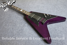 Custom Shop 4 Strings G Flying V Electric Bass Guitar Black Hardware Chinese OEM Guitars Factory In Stock(China)