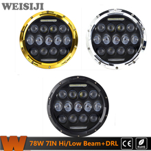 WEISIJI 1Pair 7inch 78W LED Driving Headlight High/Low Beam with DRL Car Headlight For Jeep Wrangler Hummer Harley Motorcycles