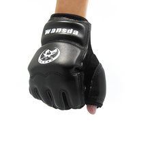New Kick Boxing Gloves MMA Gloves Muay Thai Training Gloves MMA Boxer Fight Boxing Equipment Half Mitts PU Leather Black