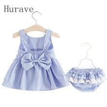 Hurave 2017 Girls Clothing Stripe Sleeveless Sets Children Back Bow T-shirt+Shorts 2Pc for Kids Clothing Sets Baby C4L2(China)