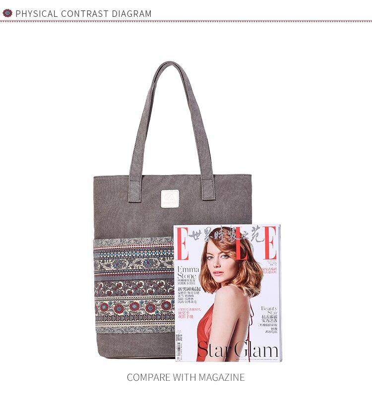 Canvasartisan Brand new canvas women handbags floral vintage female shopping shoulder bag zipper closure tote hand bags 9
