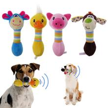 Funny Dog Toys Interactive Animal Shape Plush Sound Squeaker Chew Toys Solid Resistance To Bite Play Toys for Pet Puppy(China)