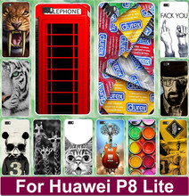 Tiger Lion Cat Giraffe Animal Skull Telephone Booth Painted Cases Shell For Huawei Ascend P8 Lite 5 inch Cell Phone Case Cover(China)