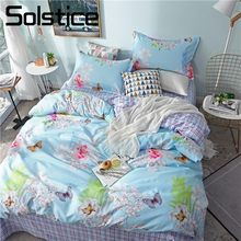 Solstice Home Textile Girls Bedding Sets Child Adult Linen Flower Blue Duvet Quilt Cover Pillowcases Bed Sheet Queen Twin 3/4Pcs(China)