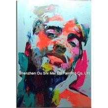 Handmade Man Face Painting on Canvas Imitation Nielly Francoise Works Painting for Living Room Home Decor Man's Head Picture Art