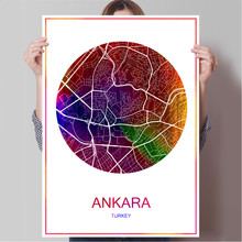 Ankara Turkey Famous City Map Modern Print Poster Print on Paper or Canvas Wall Sticker Bar Pub Cafe Living Room Home Decoration