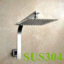 Free Shipping 8 inch 20CM*20CM square stainless steel Ultra-thin head shower with arm top shower with shower pipe TH009-4