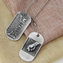 Classic Rock Music band The Metallica Necklace Pendant High Quality Hip Hop Music Metallica Logo Dog Tag Charms Necklace Jewelry