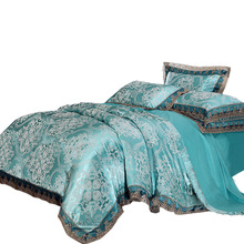 Papa&Mima Jacquard Bedlinen Queen King Size Lace Duvet cover Set Silk and Cotton Bedding Sets