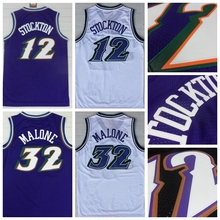 Mens #12 Retro John Stockton Jersey Stitched Wholesale Cheap High Quality #32 Karl Malone Jersey Throwback Basketball Jersey